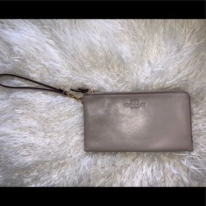 COACH- Grey Leather Double Zip Wristlet Wallet